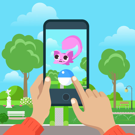 walk: Flat popular mobile game vector illustration. Smartphone in human hands, catch dragon. MMOG gaming concept.