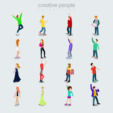 Flat Modern Young People diverse by job, sex and style vector illustration set. Isolated icons. Society members variety concept. Party maker, student, young beauties, dancer, casual clothing.