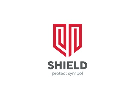 Shield Logo design vector template. Protection defense symbol. Law Legal security guard company Logotype. Lawyer Advocate concept icon.