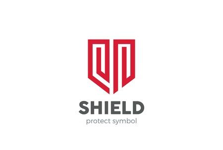 방패 로고 디자인 벡터 템플릿입니다. 방위 상징입니다. 법률 보안 경호 회사 로고 타입. 변호사 옹호 개념 아이콘입니다.