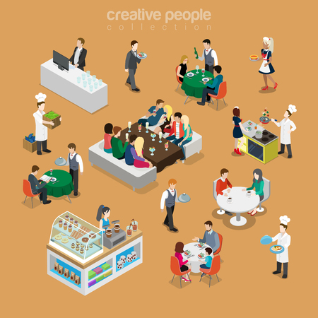 Isometric flat People in restaurant vector illustration set. Reservation, celebrating, cooking, deserts, variety of waiters and customers characters. Food and drink 3d isometry concept. Stock Illustratie