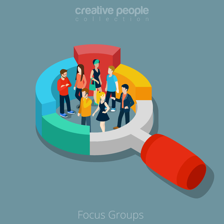 Flat isometric people group inside magnifier diagram vector illustration. Marketing social focus group 3d isometry concept. Illustration