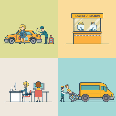 passenger transportation: Flat Modern Taxi information and call centre, woman with baggage, service for people with disabilities vector illustration set. City Passenger Transportation concept.