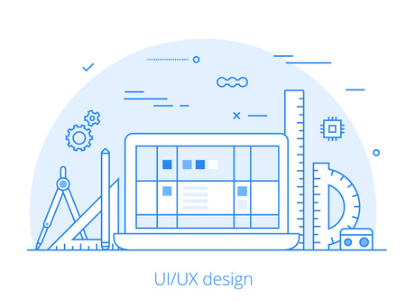 Lineart Flat UIUX interface design web site hero image vector illustration. User experience, projecting and testing app and software concept. Laptop, digitizer, rulers and wireframe