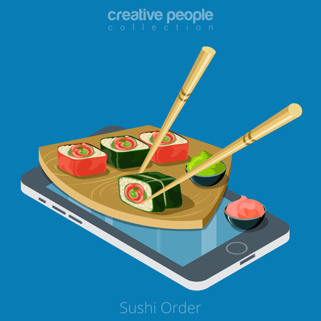 Flat isometric desk with Sushi and chopsticks on smartphone vector illustration. 3d isometry online mobile ordering and delivery app concept.