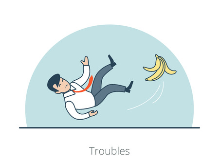 Linear Flat Businessman slipped on a banana peel and falling down vector illustration. Troubles, unsuccessful Business concept.