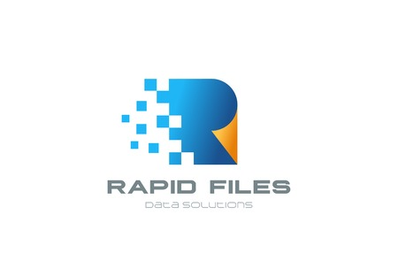 Fast Speed Digital Documents Logo design vector template. Web page shit of paper file transferring Logotype concept icon