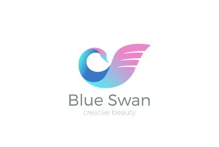 Uiterlijk Cosmetica Swan Logo abstract ontwerp vector template. Vogel symbool Logotype. SPA Fashion concept pictogram