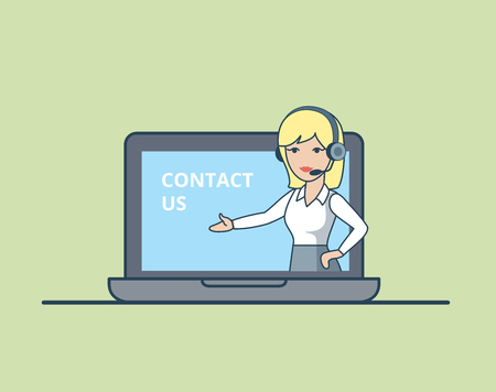 call centre: Linear Flat Woman with headset in huge laptop shows text vector illustration. Online Information call centre concept.