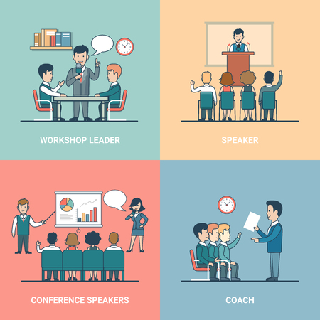conference speaker: Linear Flat training variations in office rooms with furniture vector illustration set. Conference Speaker, Coach, Workshop Leader and listeners characters. Business professional Retraining concept.