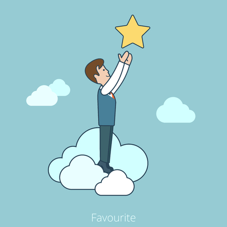 Linear Flat Businessman in clouds reaching hands to the star vector illustration. Favourite business concept.
