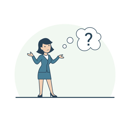 Linear Flat confused Businesswoman shrugging shoulders, chat bubble with question mark vector illustration. Business task concept. Vettoriali
