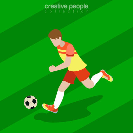 offensive: Flat isometric Football (Soccer) Offensive Forward Player vector illustration. Team sports 3d isometry image.