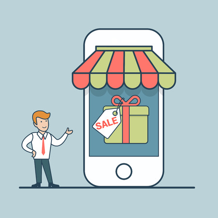 e shop: Linear Flat micro manager pointing to big mobile store sale vector illustration. Smartphone shopping, seasonal sale online business concept.