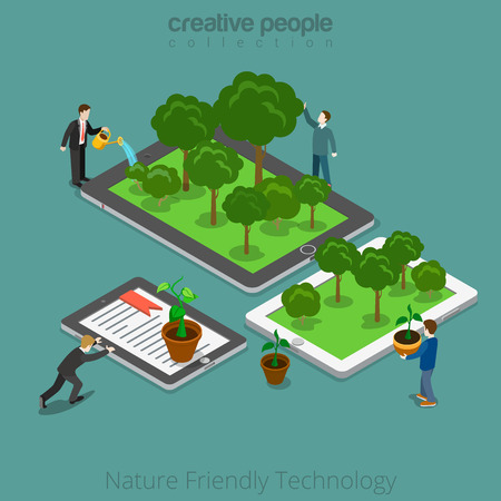 friendly people: Isometric flat People growing up plants on their tablets and smartphones and move them together vector illustration. Nature Friendly Technology 3d isometry concept.