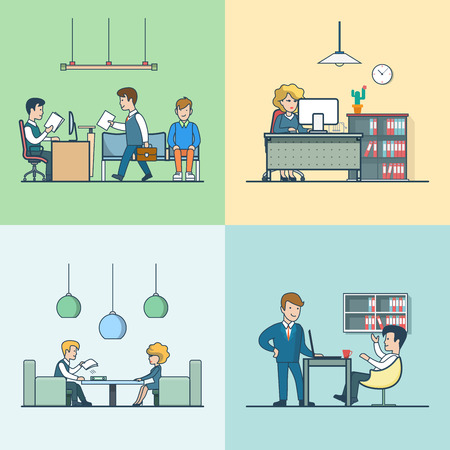 people in line: Linear Flat Business meeting, routine work, interview with manager and babble break vector illustration set. Office life concept.
