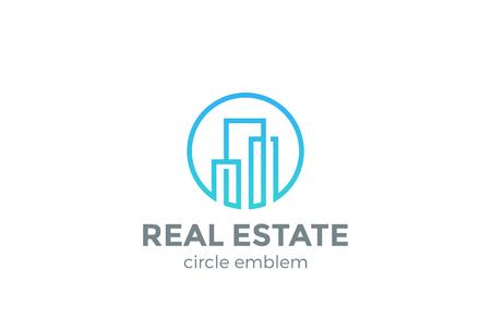 不動産ロゴ デザイン ベクトル テンプレート直線的なスタイルです。  建物建設開発ロゴ コンセプト アイコンの円図形  イラスト・ベクター素材