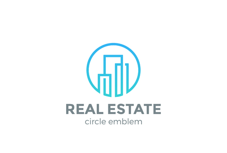 Real Estate Logo design vector template Linear style.  Building Construction Development Logotype concept icon Circle shape