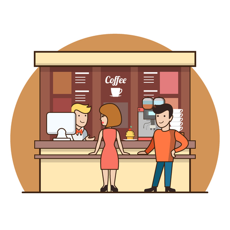 choosing: Linear Flat Customers in coffee shop line choosing drinks vector illustration. Waiter, cashier, man, woman, client characters. Coffee break concept.