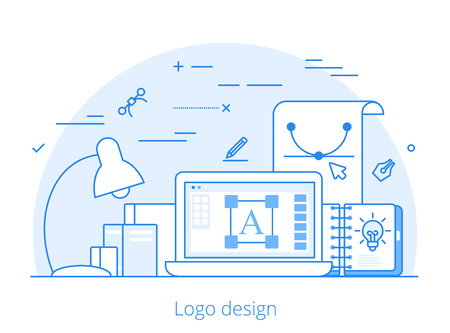 software design: Line art Flat  design, identity and branding website hero image vector illustration. Digital art tools and technology concept. Laptop, sketchbook, vector editor software interface. Illustration