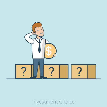 investment: Linear Flat Businessman choosing right box vector illustration. Investment Choice business concept.