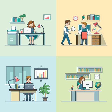 secretary office: Linear Flat variations of office rooms with furniture and businesspeople vector illustration set. Secretary, manager, accountant, analyst characters. Office life concept. Illustration