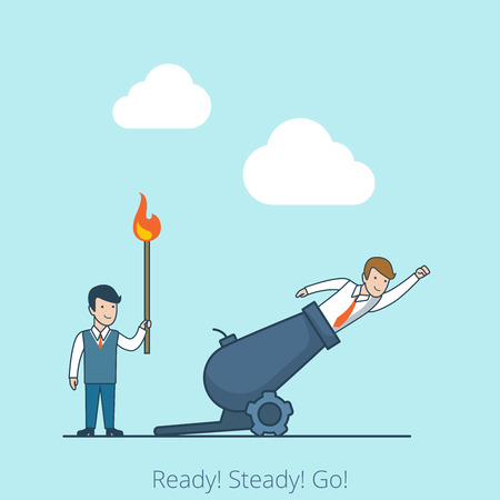 Linear Flat Businessman with burning match, second preparing to fly shot from cannon gun vector illustration. Ready Steady Go business concept. Illustration