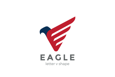 creative force: Eagle Logo abstract design vector template letter V.  Falcon Hawk bird stylish Logotype concept icon.