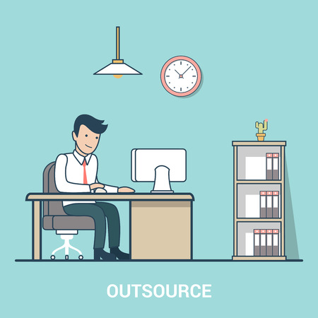 outsource: Linear Flat Outsourcing Businessman on working place vector illustration. Outsource your business concept.