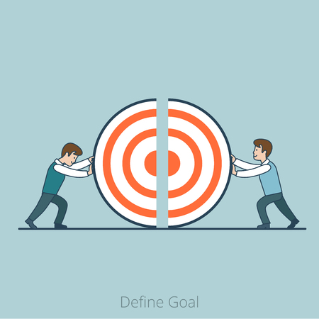 Linear Flat Businessmen pushing target piece part to connect into whole one vector illustration. Define Goal business concept.