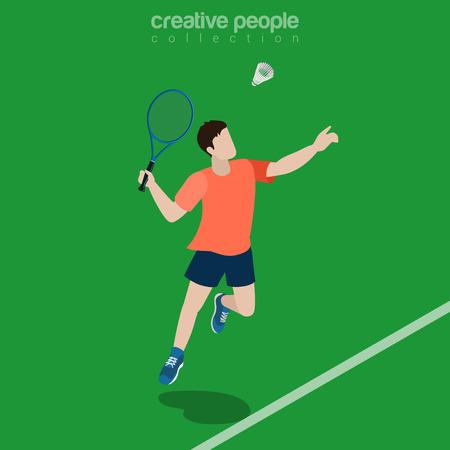sportsman: Flat isometric Badminton Player vector illustration. Sportsman 3d isometry image. Summer games concept.