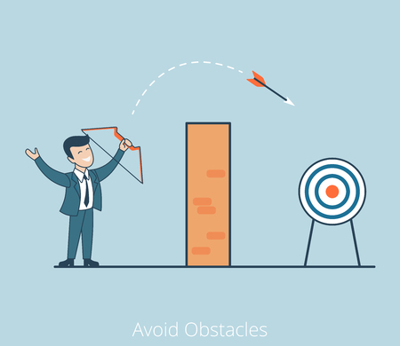 blockage: Linear Flat Businessman shoot arrow over wall vector illustration. Avoid Obstacles business concept.