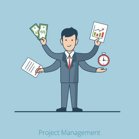 snatch: Linear Flat Multi hand business project manager hold money, diagram, stopwatch, and task list vector illustration. Business Management concept. Illustration
