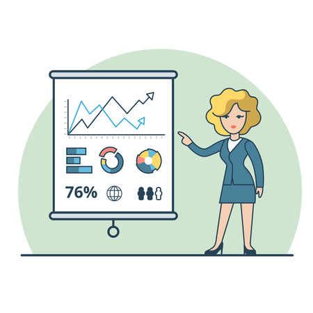 business analysis: Linear Flat Businesswoman shows report, presentation vector illustration. Financial Business Analysis, Audit, Planing concept.