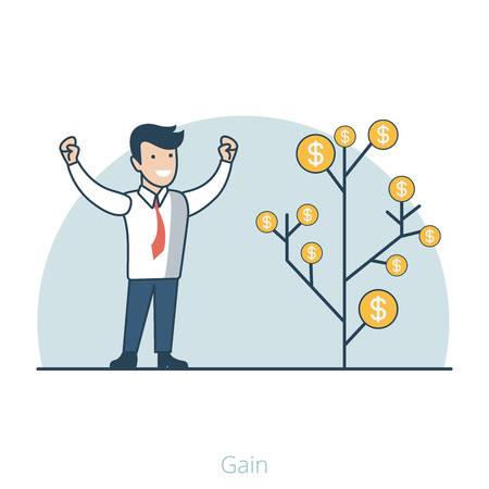 gain: Linear Flat Happy manager near money tree vector illustration. Business Gain and Profit concept.