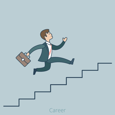 career up: Linear Flat Businessman running up ladder of success vector illustration. Career and professional growth business concept.