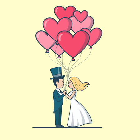 romance love: Linear Flat Couple dressed for wedding holding heart balloons vector illustration. Newly weds or Valentines day design for greeting card. Love and Romance concept.