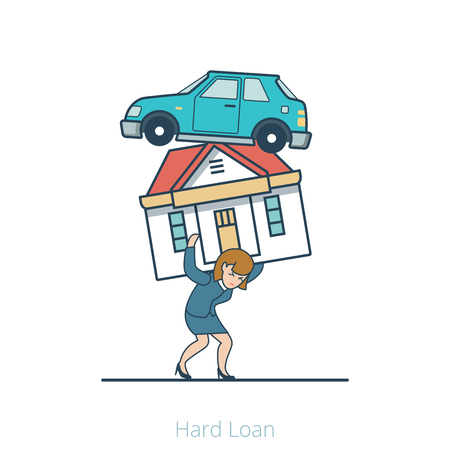 intolerable: Linear Flat Woman carry heavy house and car vector illustration. Hard Loan business concept.
