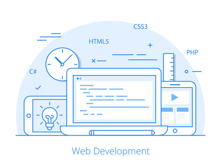 css3: Lineart Flat responsive web development layout website hero image vector illustration. App programming technology and software concept. C#, PHP, HTML5, CSS3 technologies, laptop, tablet, smartphone.