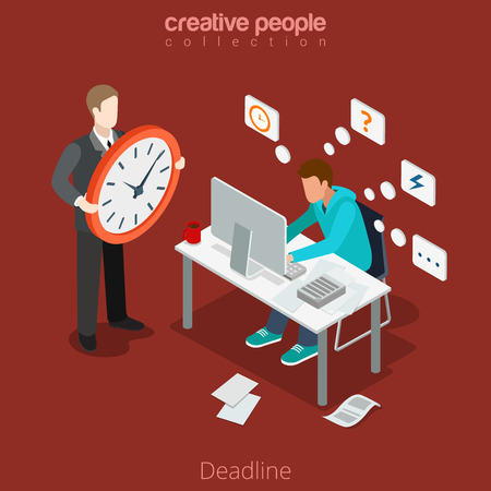 business time: Flat isometric businessman works in a hurry, leader with big clock vector illustration. 3d isometry rush for Deadline, out of schedule business concept. Boss or manager. Illustration
