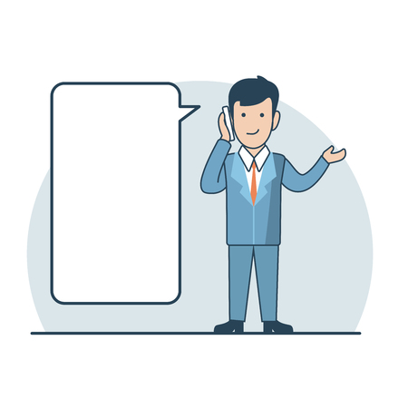 share information: Linear Flat Businessman making phone call, share information vector illustration. Empty talk bubble to place your text. Business promotion concept.