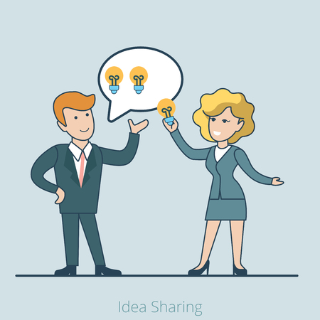 idea lamp: Linear Flat businesswoman taking lamp out of businessmans mind bubble vector illustration. Business making, idea sharing and stealing concept.