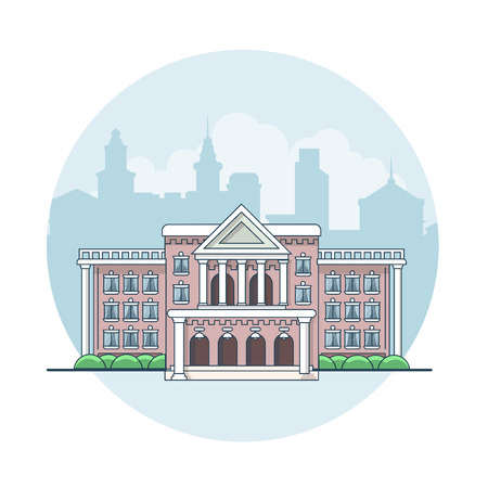 town: Linear Flat building facade entrance, city hall vector illustration. Classic town real estate architecture concept.