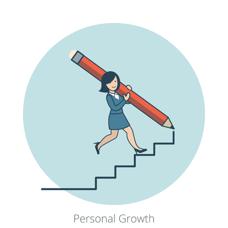 personal growth: Linear Flat Happy businesswoman drawing stairs by big pencil and walk by them up vector illustration. Personal Growth Business concept.
