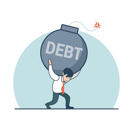 the destroyer: Linear Flat Businessman carrying the bomb named Debt on his shoulders vector illustration. Business destroyer, risk loan concept. Illustration