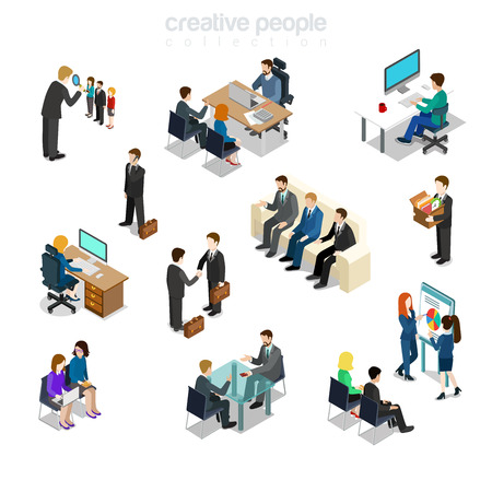 Isometric flat Businesspeople diverse by job, sex, post and function at working place vector illustration set. Variety business situations 3d isometry concept. Boss, manager, secretary and HR.