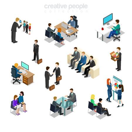 Isometrisch vlak Ondernemers divers door baan, geslacht, post en functie op geplaatste vectorillustratie van de werkende plaats. Verschillende zakelijke situaties 3d isometrie concept. Baas, manager, secretaris en HR.