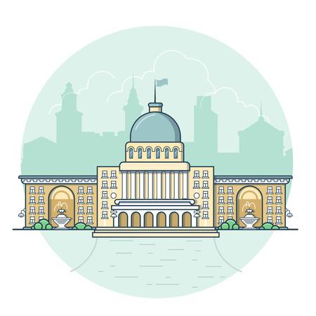 ortseingangsschild: Linear Wohnung Gebäudefassade Eingang, kommunale Regierungszentrum Vektor-Illustration. Klassische Stadtarchitekturkonzept.