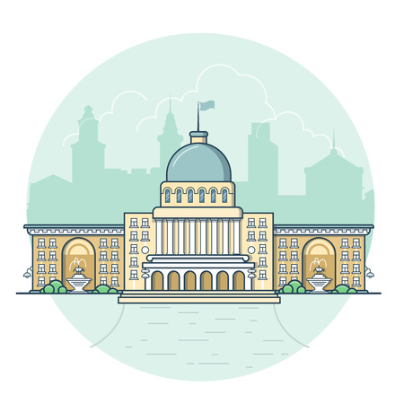 Linear Flat building facade entrance, municipal governmental center vector illustration. Classic city architecture concept.