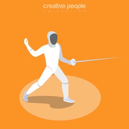 Flat isometric Fencer (Swordsman) vector illustration. Fencing sportsman 3d isometry image. Summer  Sports game concept.